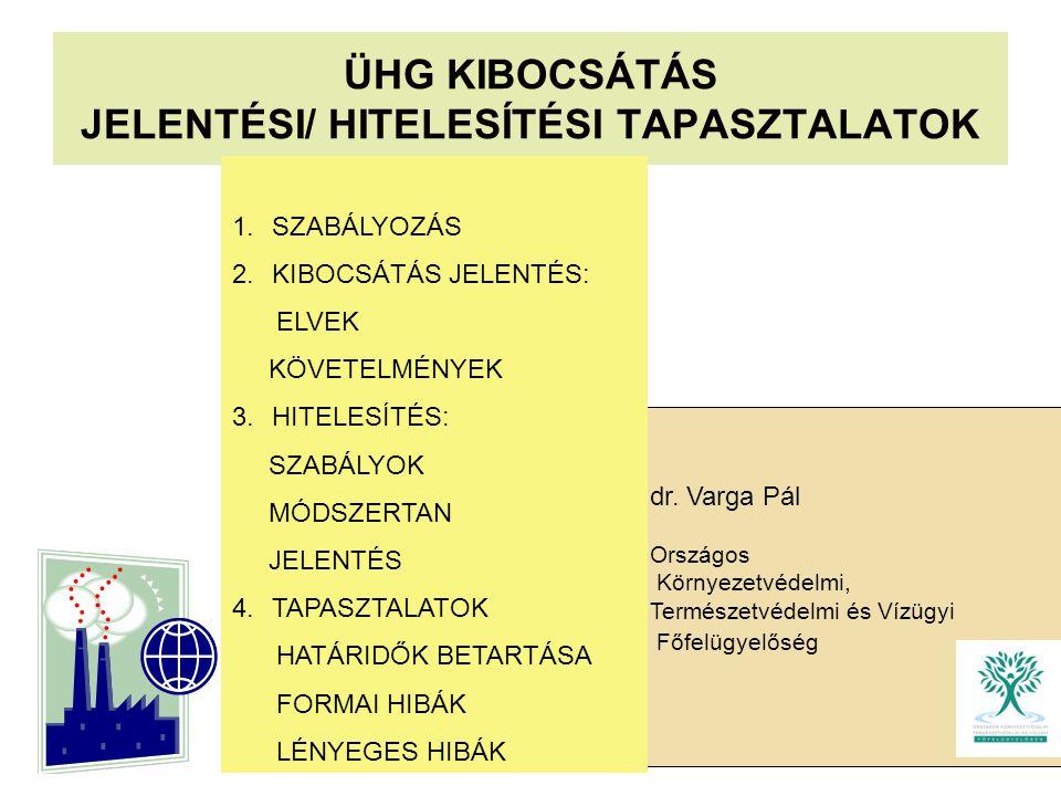 ÜHG KIBOCSÁTÁS JELENTÉSI/ HITELESÍTÉSI TAPASZTALATOK dr. Varga Pál Országos Környezetvédelmi, Természetvédelmi és Vízügyi Főfelügyelőség 1.SZABÁLYOZÁS