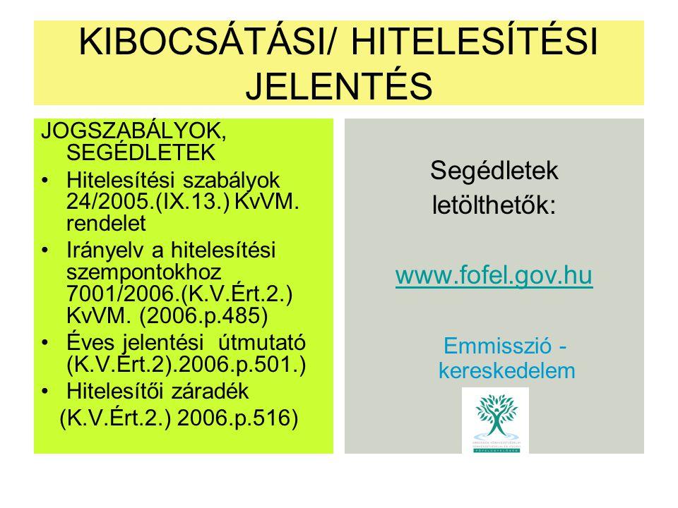 KIBOCSÁTÁSI/ HITELESÍTÉSI JELENTÉS JOGSZABÁLYOK, SEGÉDLETEK Hitelesítési szabályok 24/2005.(IX.13.) KvVM. rendelet Irányelv a hitelesítési szempontokh