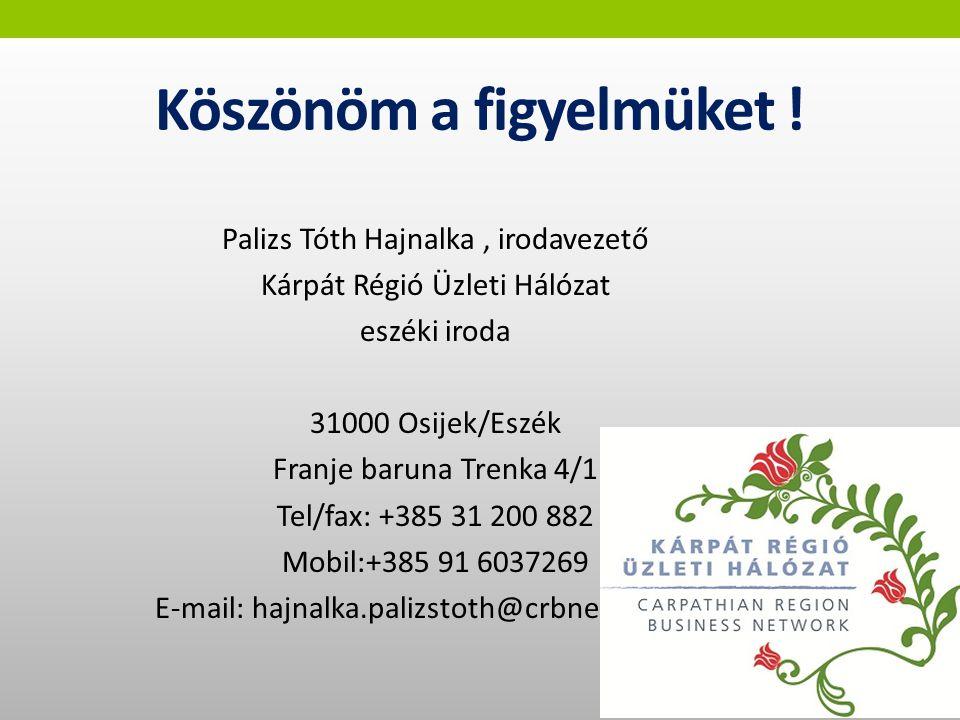 Köszönöm a figyelmüket ! Palizs Tóth Hajnalka, irodavezető Kárpát Régió Üzleti Hálózat eszéki iroda 31000 Osijek/Eszék Franje baruna Trenka 4/1 Tel/fa