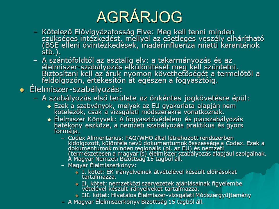 AGRÁRJOG –Kötelező Elővigyázatosság Elve: Meg kell tenni minden szükséges intézkedést, mellyel az esetleges veszély elhárítható (BSE elleni óvintézked