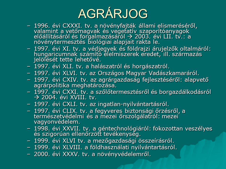 AGRÁRJOG –1996. évi CXXXI. tv. a növényfajták állami elismeréséről, valamint a vetőmagvak és vegetatív szaporítóanyagok előállításáról és forgalmazásá