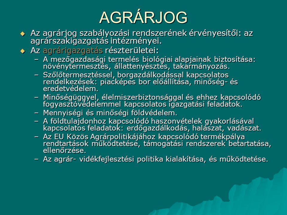 AGRÁRJOG  Az agrárjog szabályozási rendszerének érvényesítői: az agrárszakigazgatás intézményei.  Az agrárigazgatás részterületei: –A mezőgazdasági