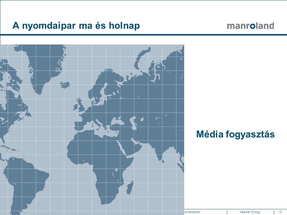 12Gazdasági és technológiai trendek a nyomdaiparban2010.05.20. SzombathelyKelemen Györgymanroland Magyarország Média fogyasztás A nyomdaipar ma és hol