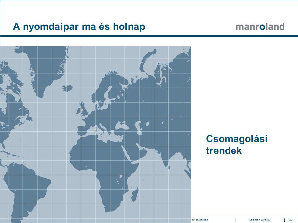 20Gazdasági és technológiai trendek a nyomdaiparban2010.05.20. SzombathelyKelemen Györgymanroland Magyarország Csomagolási trendek A nyomdaipar ma és