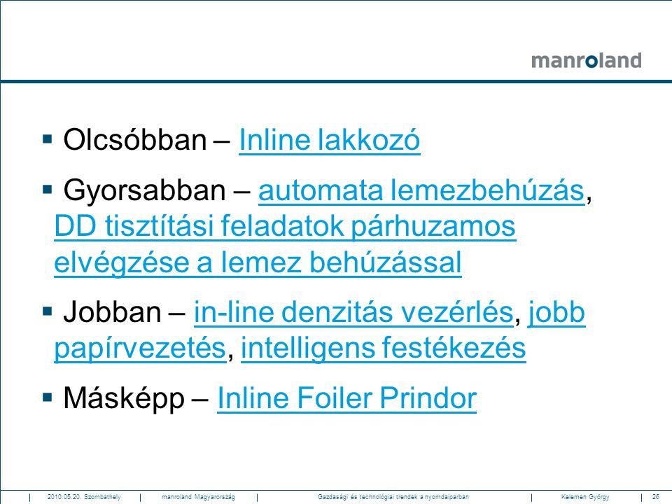 26Gazdasági és technológiai trendek a nyomdaiparban2010.05.20. SzombathelyKelemen Györgymanroland Magyarország  Olcsóbban – Inline lakkozóInline lakk