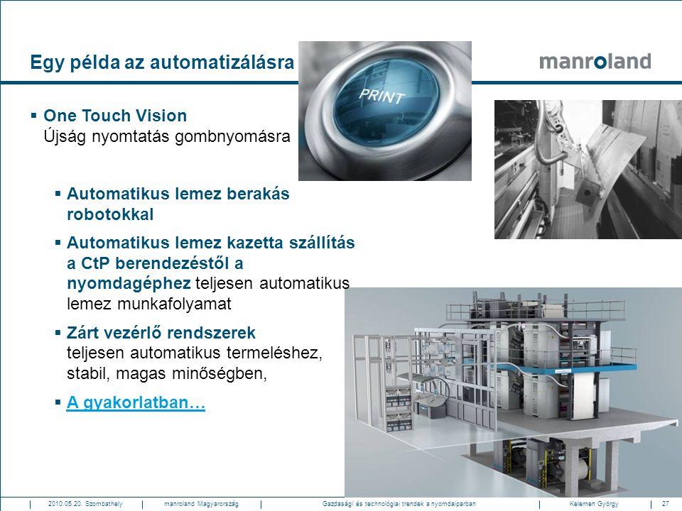 27Gazdasági és technológiai trendek a nyomdaiparban2010.05.20. SzombathelyKelemen Györgymanroland Magyarország Egy példa az automatizálásra  One Touc