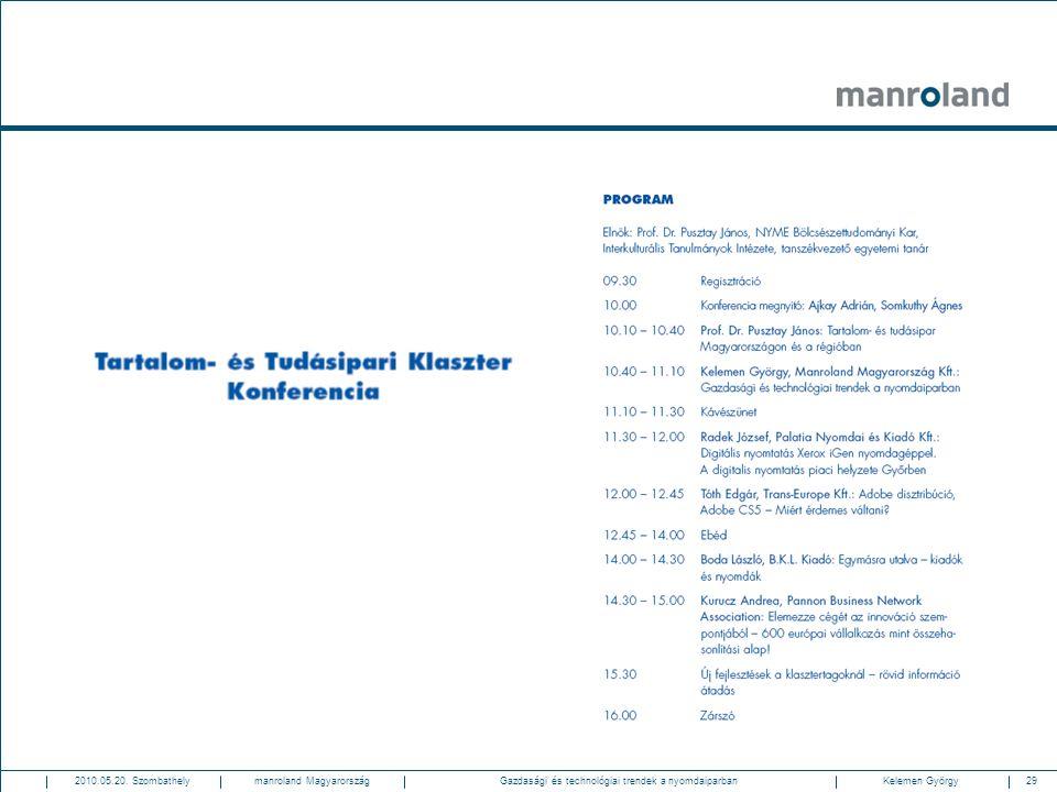 29Gazdasági és technológiai trendek a nyomdaiparban2010.05.20. SzombathelyKelemen Györgymanroland Magyarország