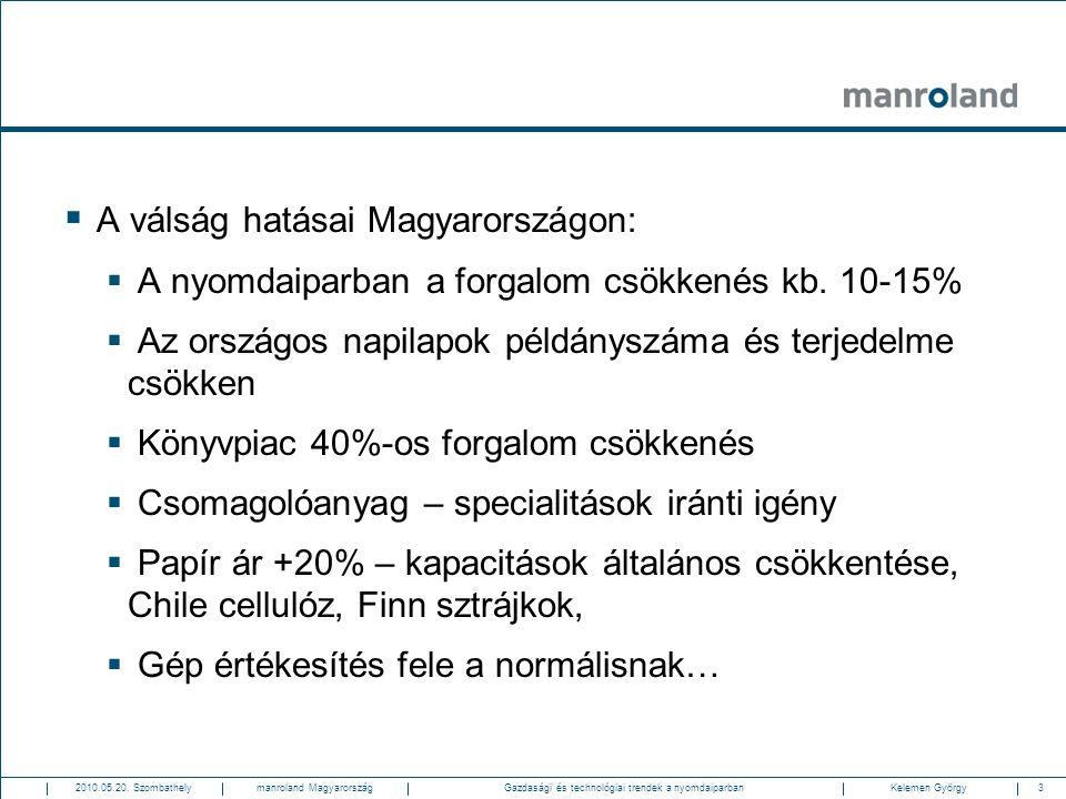 3Gazdasági és technológiai trendek a nyomdaiparban2010.05.20. SzombathelyKelemen Györgymanroland Magyarország  A válság hatásai Magyarországon:  A n