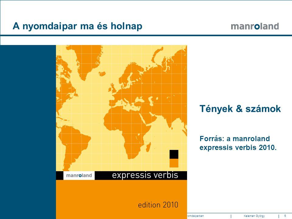 5Gazdasági és technológiai trendek a nyomdaiparban2010.05.20. SzombathelyKelemen Györgymanroland Magyarország Tények & számok Forrás: a manroland expr