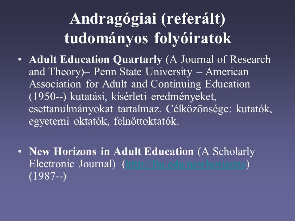 Andragógiai (referált) tudományos folyóiratok Adult Education Quartarly (A Journal of Research and Theory)– Penn State University – American Association for Adult and Continuing Education (1950--) kutatási, kísérleti eredményeket, esettanulmányokat tartalmaz.