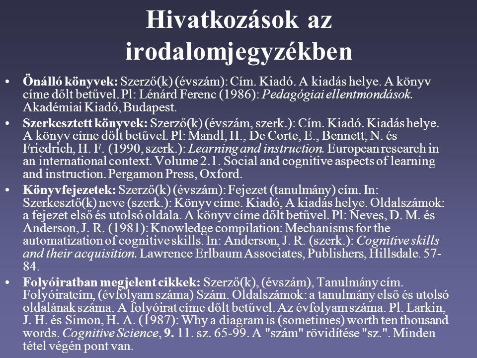 Hivatkozások az irodalomjegyzékben Önálló könyvek: Szerző(k) (évszám): Cím.