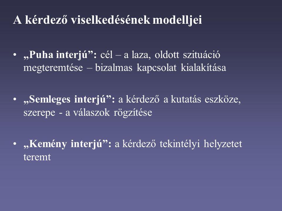 """A kérdező viselkedésének modelljei """"Puha interjú : cél – a laza, oldott szituáció megteremtése – bizalmas kapcsolat kialakítása """"Semleges interjú : a kérdező a kutatás eszköze, szerepe - a válaszok rögzítése """"Kemény interjú : a kérdező tekintélyi helyzetet teremt"""