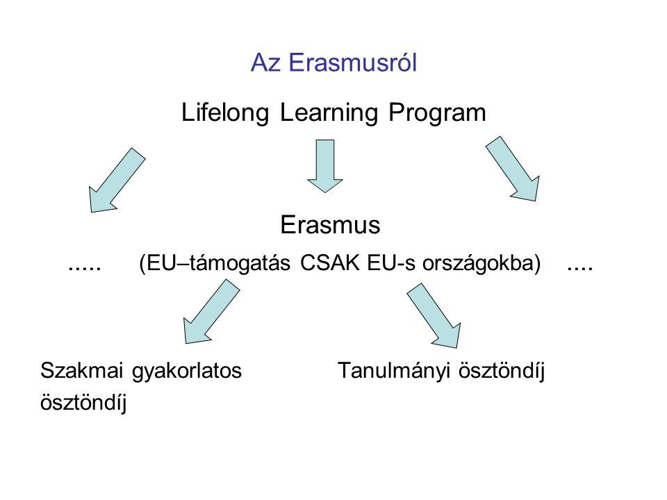 Az Erasmusról Lifelong Learning Program Erasmus..... (EU–támogatás CSAK EU-s országokba).... Szakmai gyakorlatos Tanulmányi ösztöndíj ösztöndíj