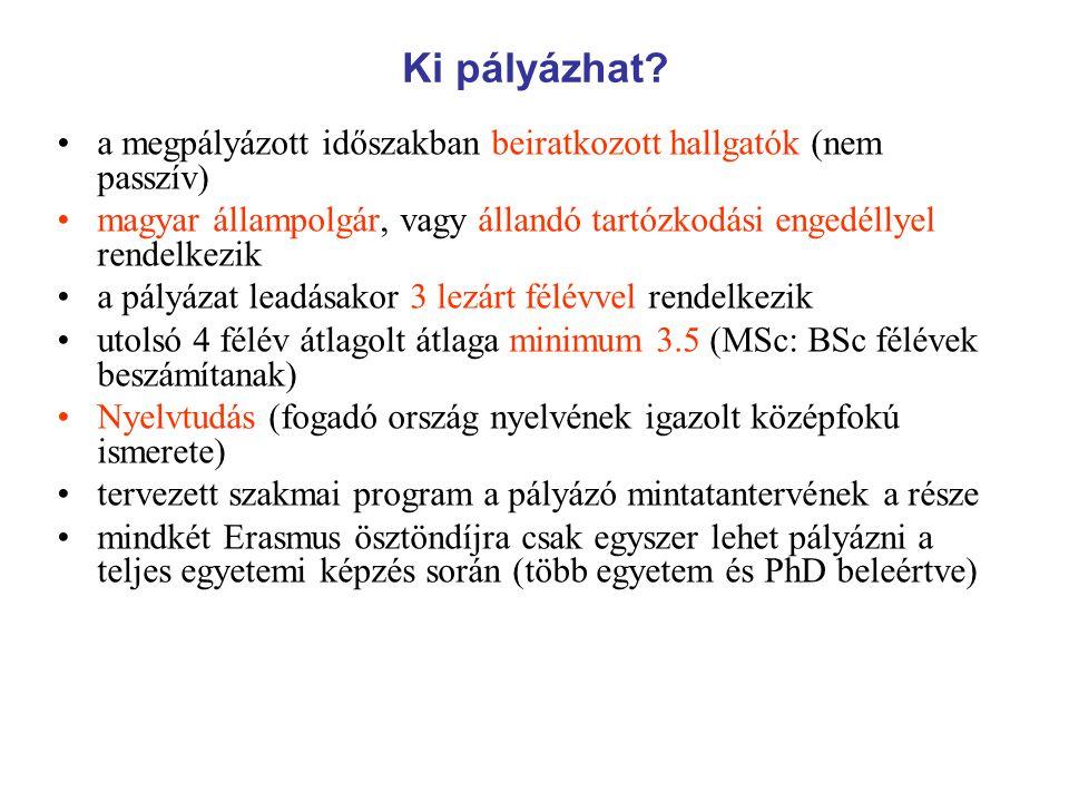 KAPCSOLAT, HATÁRIDŐK Erasmus iroda: TO fsz.110.