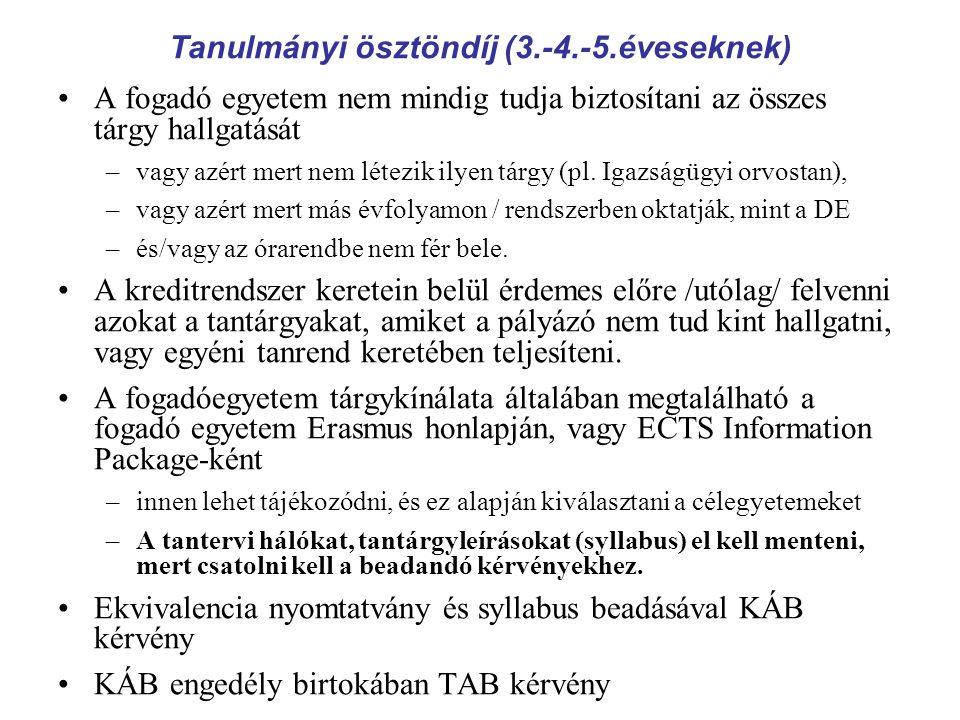 Szakmai gyakorlatra ösztöndíj (szigorlóknak) Pályázható egyetemek Az egyetemek listája megtalálható az erasmus.dote.hu honlapon.