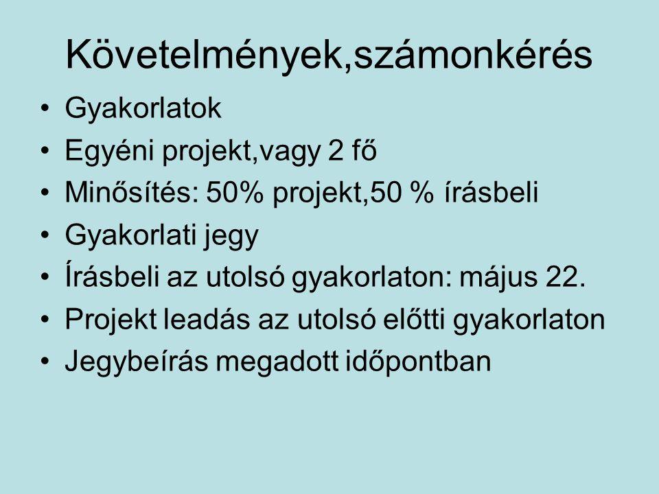 Követelmények,számonkérés Gyakorlatok Egyéni projekt,vagy 2 fő Minősítés: 50% projekt,50 % írásbeli Gyakorlati jegy Írásbeli az utolsó gyakorlaton: május 22.