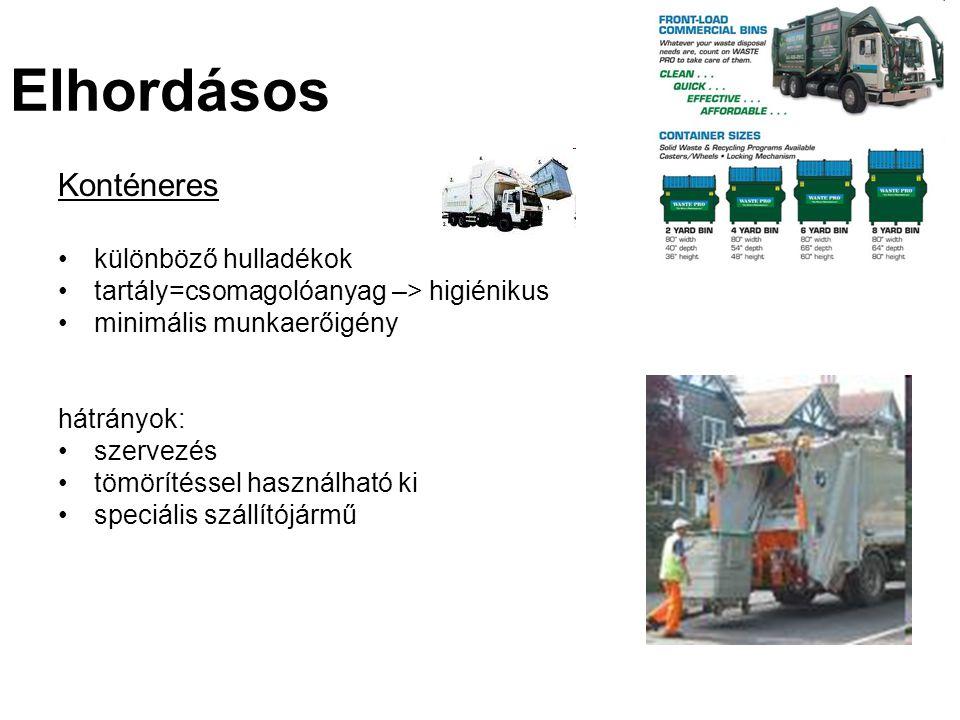Konténeres különböző hulladékok tartály=csomagolóanyag –> higiénikus minimális munkaerőigény hátrányok: szervezés tömörítéssel használható ki speciális szállítójármű Elhordásos