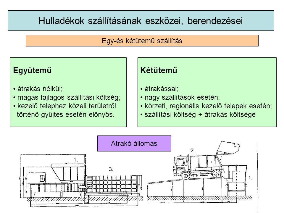 Hulladékok szállításának eszközei, berendezései Egy-és kétütemű szállítás Együtemű átrakás nélkül; magas fajlagos szállítási költség; kezelő telephez