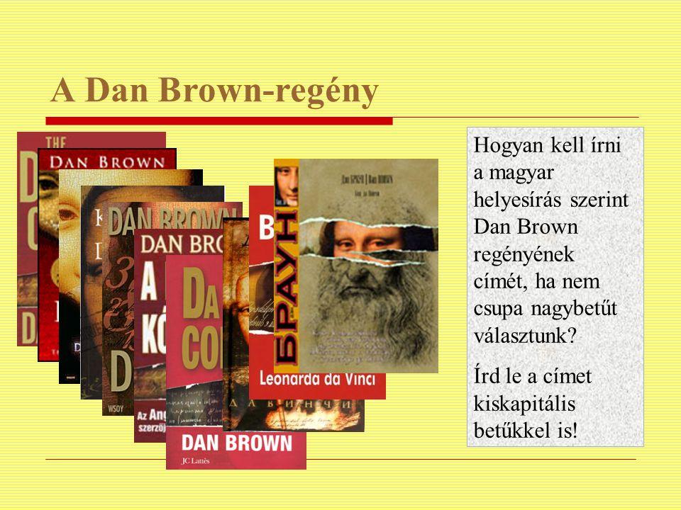 A Dan Brown-regény Hogyan kell írni a magyar helyesírás szerint Dan Brown regényének címét, ha nem csupa nagybetűt választunk? Írd le a címet kiskapit