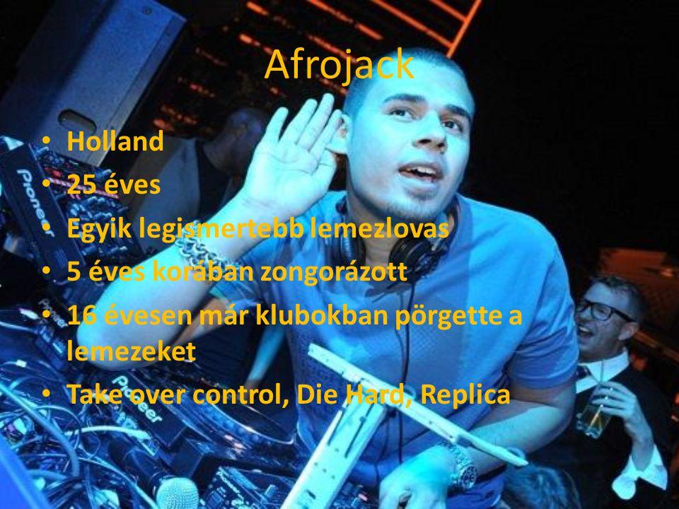Afrojack Holland 25 éves Egyik legismertebb lemezlovas 5 éves korában zongorázott 16 évesen már klubokban pörgette a lemezeket Take over control, Die