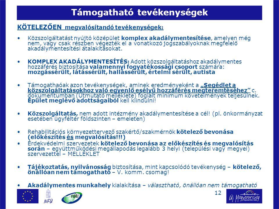 12 Támogatható tevékenységek KÖTELEZŐEN megvalósítandó tevékenységek: Közszolgáltatást nyújtó középület komplex akadálymentesítése, amelyen még nem, v