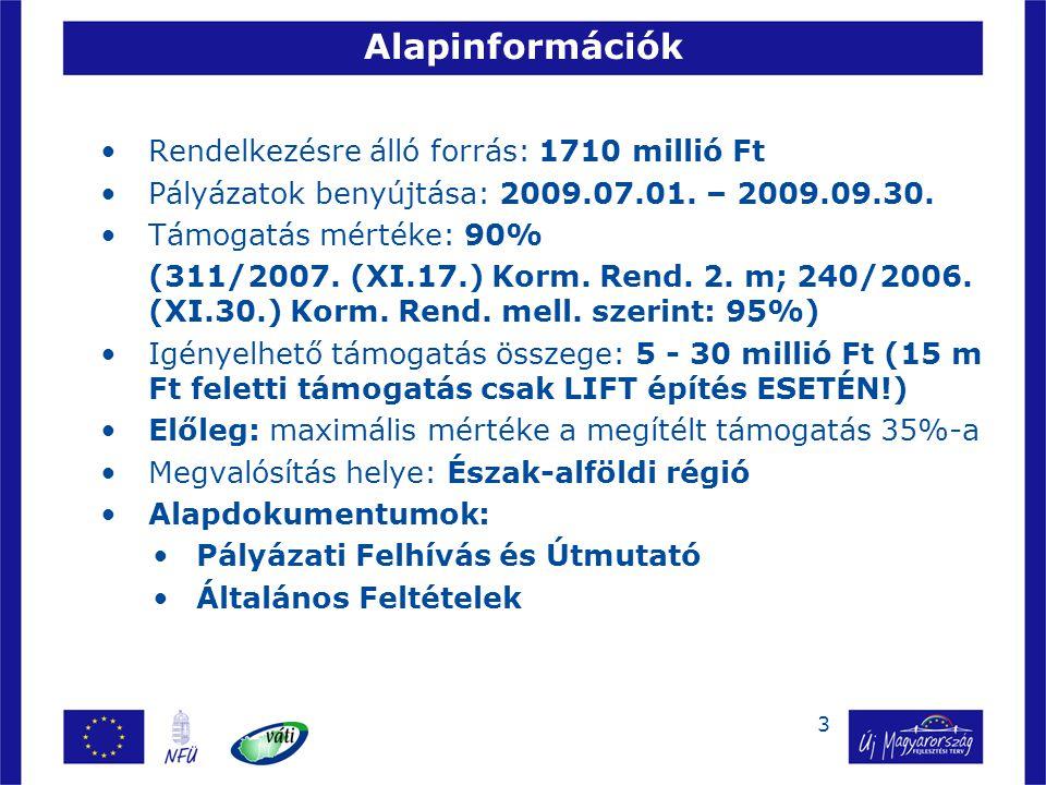 3 Alapinformációk Rendelkezésre álló forrás: 1710 millió Ft Pályázatok benyújtása: 2009.07.01. – 2009.09.30. Támogatás mértéke: 90% (311/2007. (XI.17.