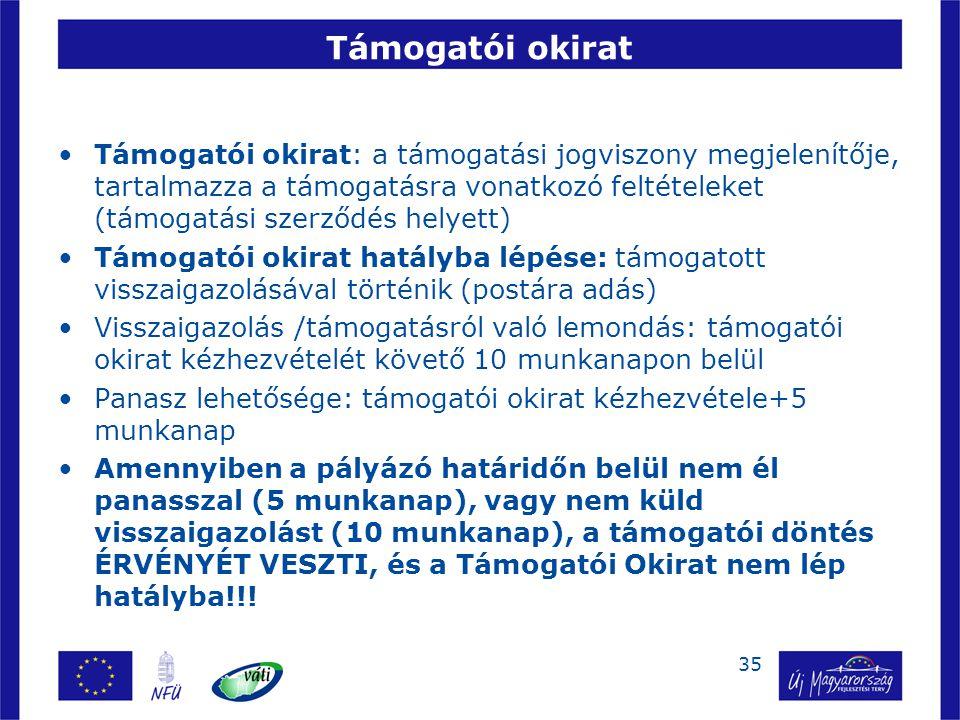 35 Támogatói okirat Támogatói okirat: a támogatási jogviszony megjelenítője, tartalmazza a támogatásra vonatkozó feltételeket (támogatási szerződés he