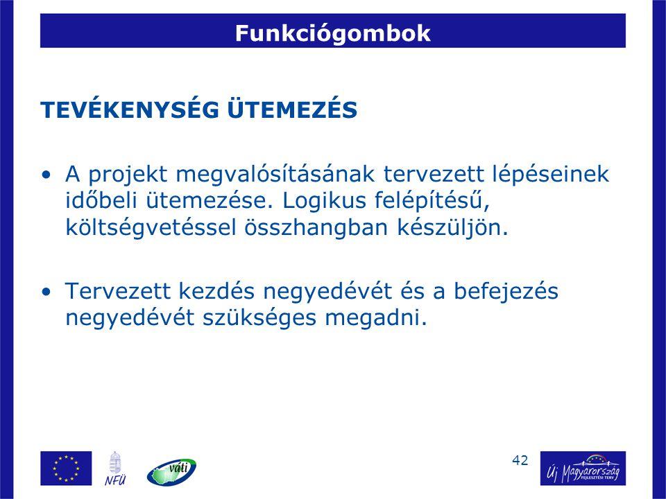 42 Funkciógombok TEVÉKENYSÉG ÜTEMEZÉS A projekt megvalósításának tervezett lépéseinek időbeli ütemezése. Logikus felépítésű, költségvetéssel összhangb