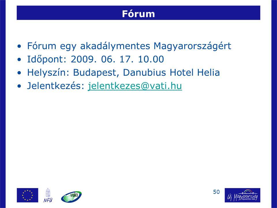 50 Fórum Fórum egy akadálymentes Magyarországért Időpont: 2009. 06. 17. 10.00 Helyszín: Budapest, Danubius Hotel Helia Jelentkezés: jelentkezes@vati.h