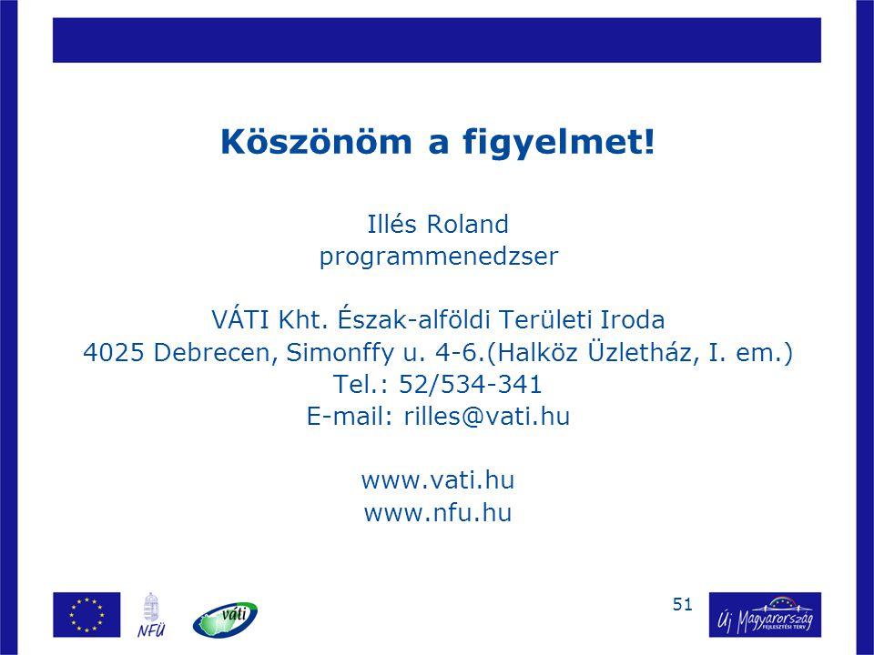 51 Köszönöm a figyelmet! Illés Roland programmenedzser VÁTI Kht. Észak-alföldi Területi Iroda 4025 Debrecen, Simonffy u. 4-6.(Halköz Üzletház, I. em.)