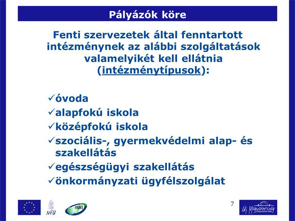 7 Pályázók köre Fenti szervezetek által fenntartott intézménynek az alábbi szolgáltatások valamelyikét kell ellátnia (intézménytípusok): óvoda alapfok