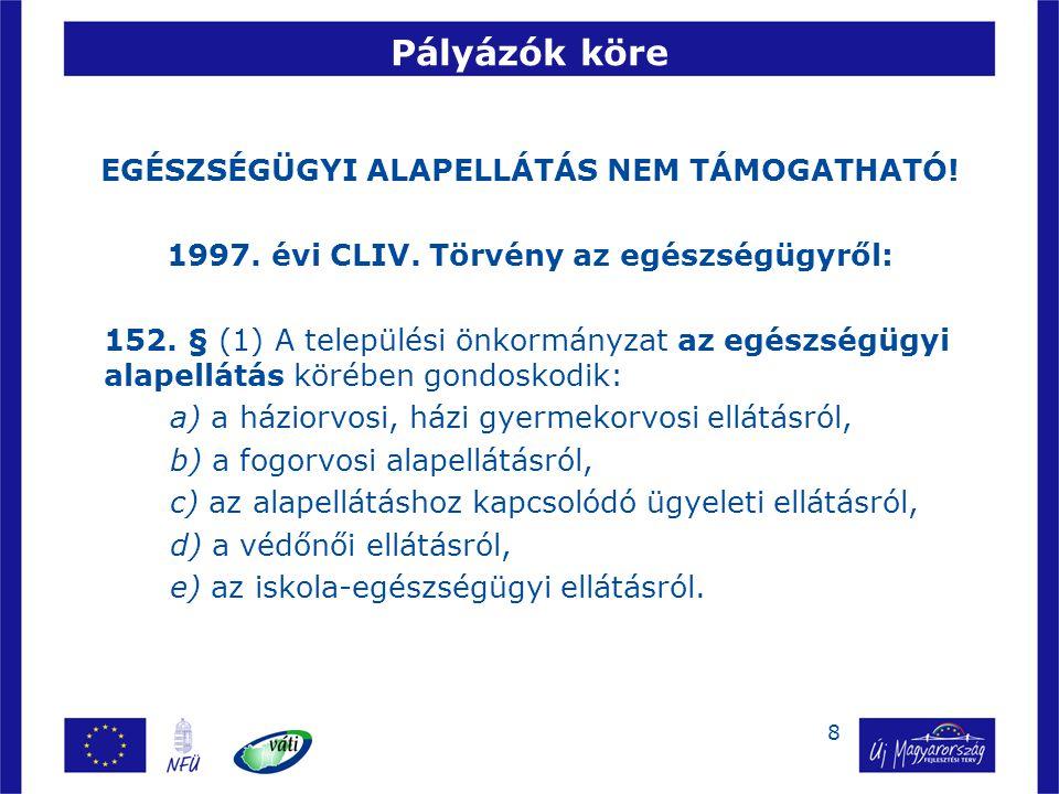 29 Csatolandó mellékletek Aláírási címpéldány (cégjegyzés mikéntje!) Beruházással érintett intézmény hatályos alapító (létesítő) okirata Társulási megállapodás – adott esetben Az 1997.