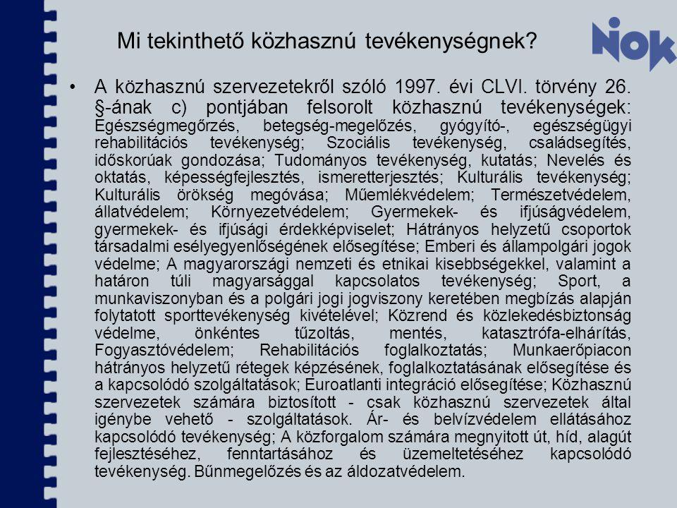 Mi tekinthető közhasznú tevékenységnek.A közhasznú szervezetekről szóló 1997.