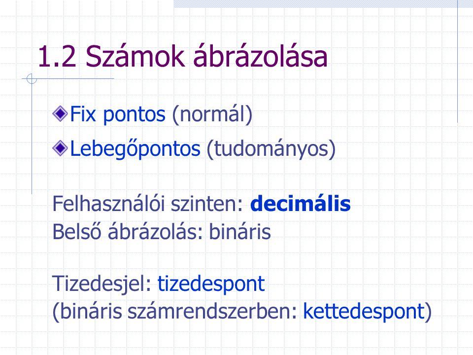 1.2 Számok ábrázolása Fix pontos (normál) Lebegőpontos (tudományos) Felhasználói szinten: decimális Belső ábrázolás: bináris Tizedesjel: tizedespont (bináris számrendszerben: kettedespont)