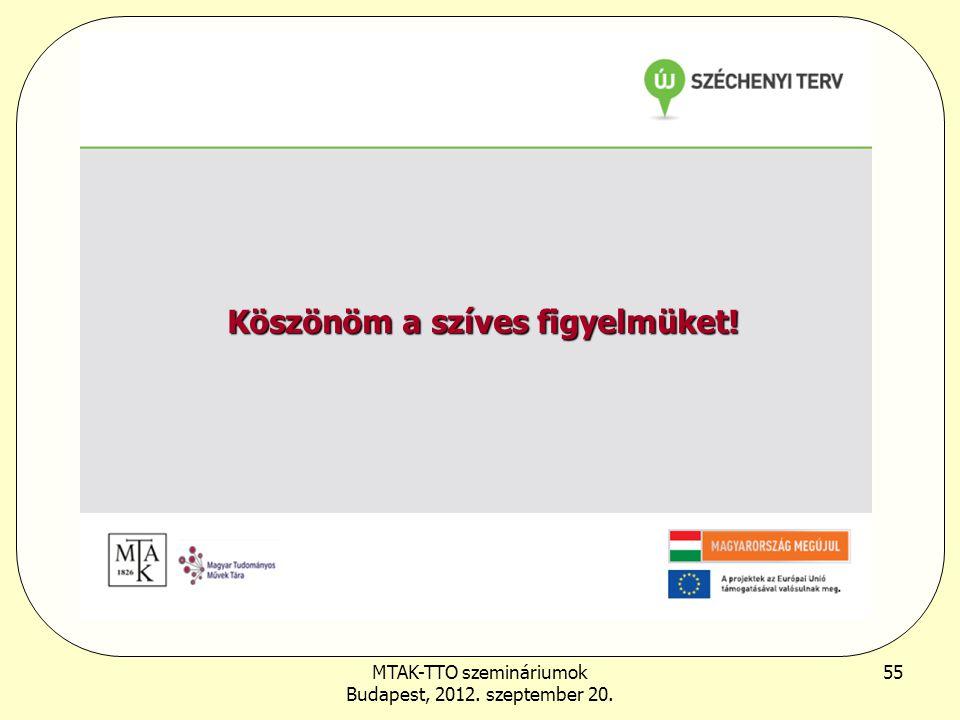 MTAK-TTO szemináriumok Budapest, 2012. szeptember 20. 55 Köszönöm a szíves figyelmüket!