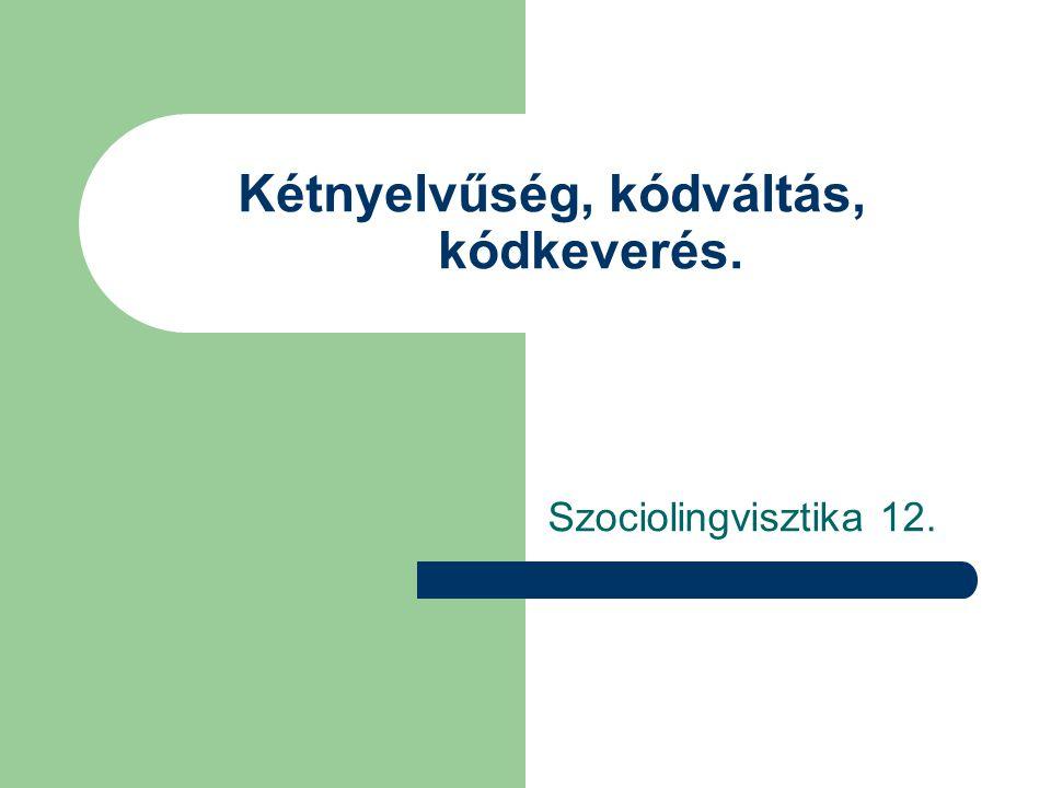 Kétnyelvűség, kódváltás, kódkeverés. Szociolingvisztika 12.