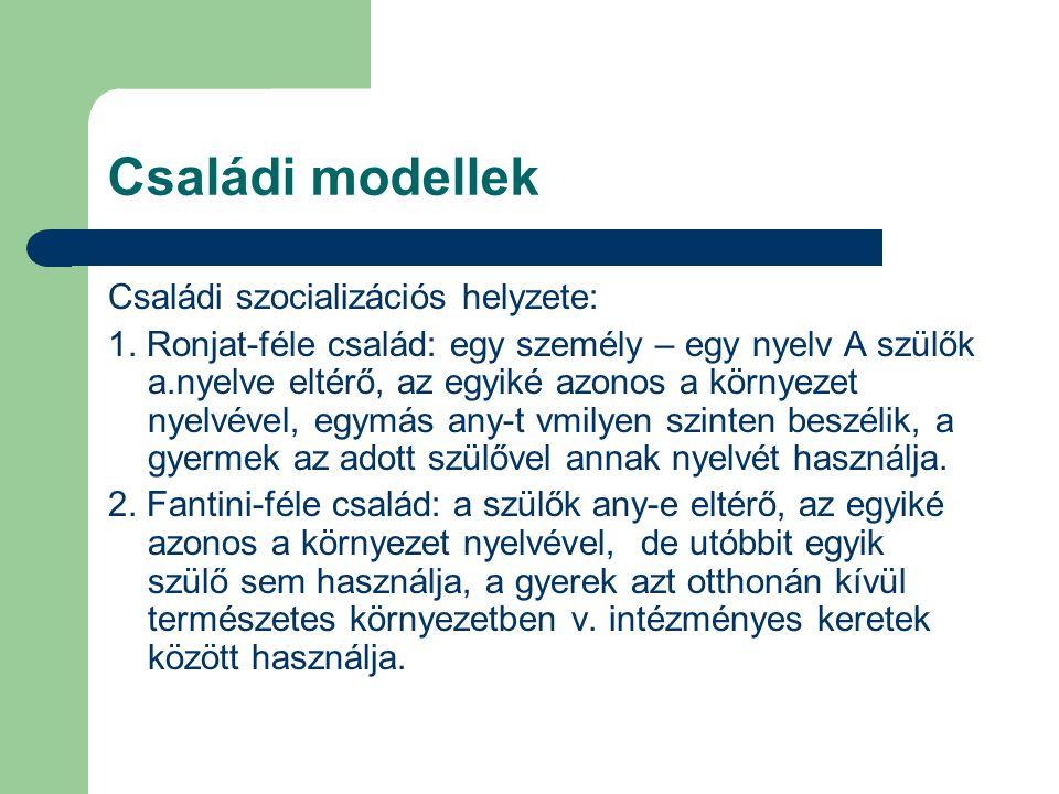 Családi modellek Családi szocializációs helyzete: 1. Ronjat-féle család: egy személy – egy nyelv A szülők a.nyelve eltérő, az egyiké azonos a környeze