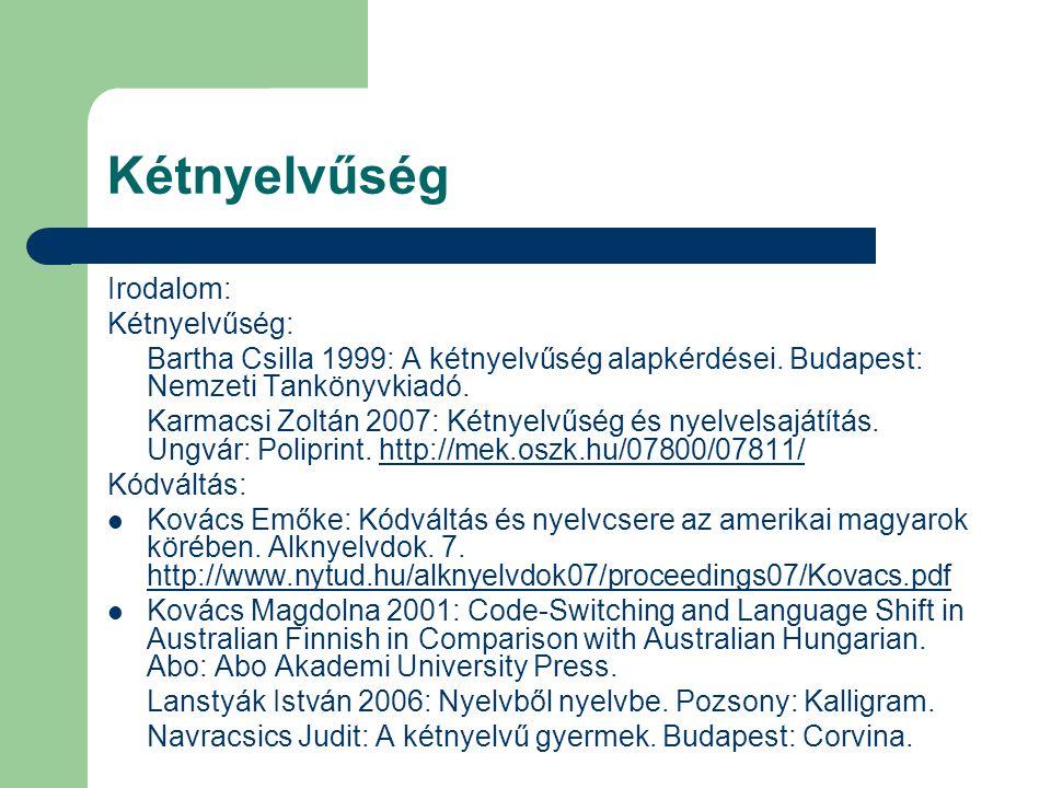 Kétnyelvűség Irodalom: Kétnyelvűség: Bartha Csilla 1999: A kétnyelvűség alapkérdései. Budapest: Nemzeti Tankönyvkiadó. Karmacsi Zoltán 2007: Kétnyelvű