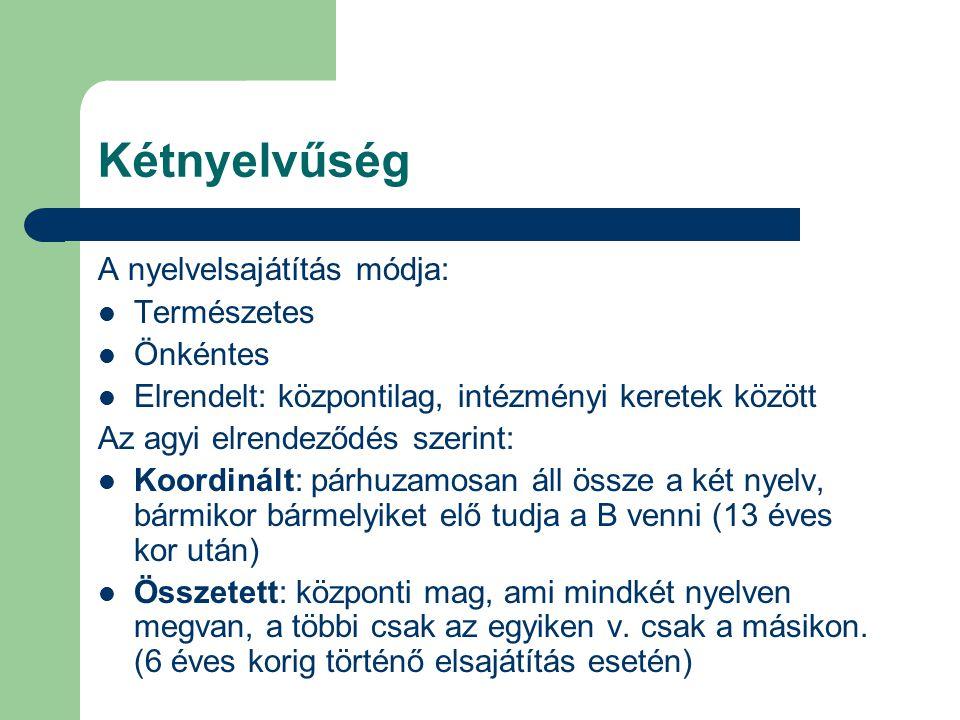 Kétnyelvűség A nyelvelsajátítás módja: Természetes Önkéntes Elrendelt: központilag, intézményi keretek között Az agyi elrendeződés szerint: Koordinált