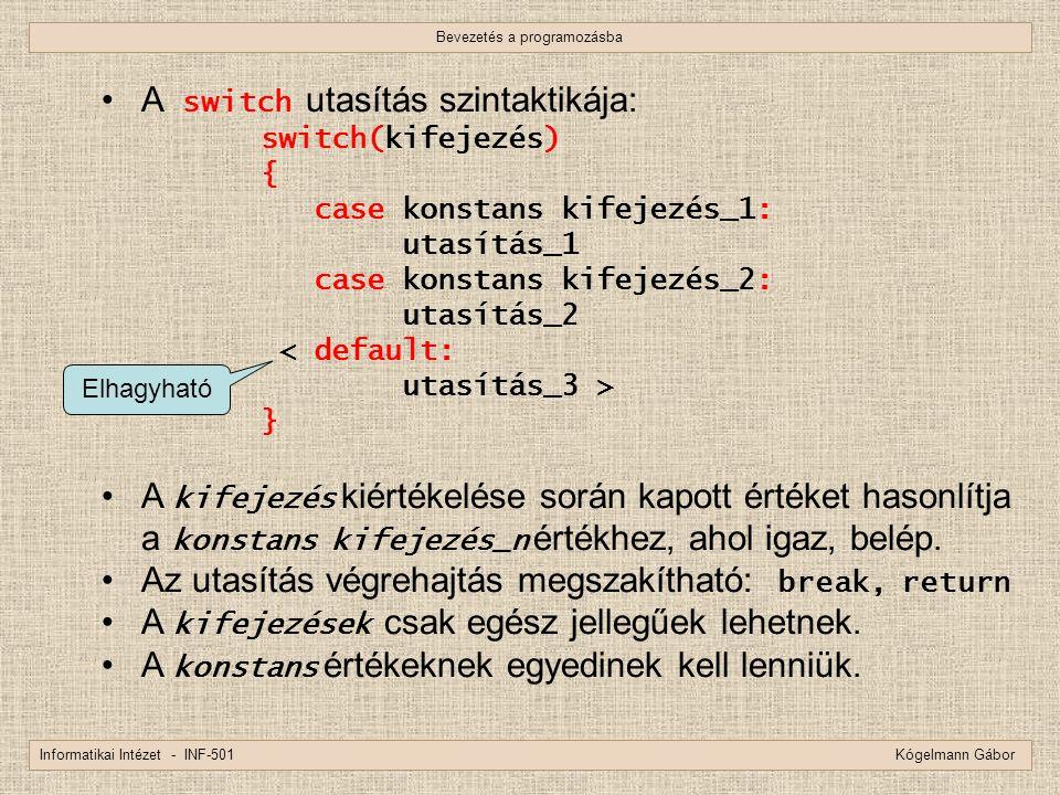 Bevezetés a programozásba Informatikai Intézet - INF-501 Kógelmann Gábor A switch utasítás szintaktikája: switch(kifejezés) { case konstans kifejezés_