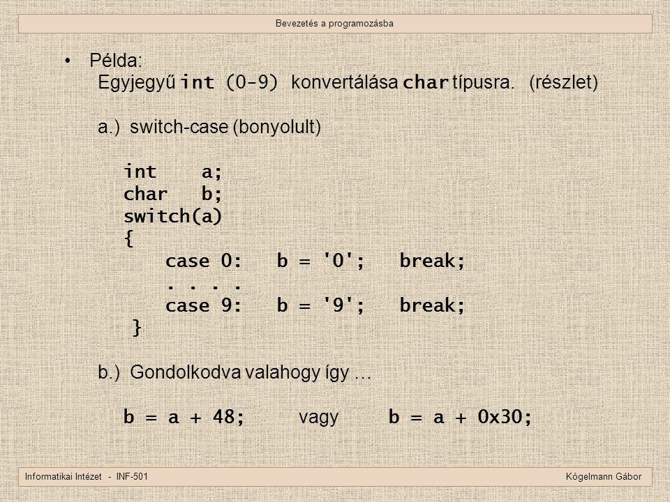 Bevezetés a programozásba Informatikai Intézet - INF-501 Kógelmann Gábor Példa: Egyjegyű int (0-9) konvertálása char típusra. (részlet) a.) switch-cas