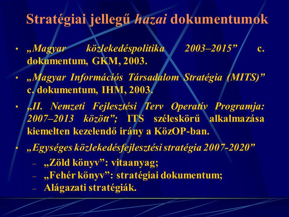 """Stratégiai jellegű hazai dokumentumok """"Magyar közlekedéspolitika 2003–2015"""" c. dokumentum, GKM, 2003. """"Magyar Információs Társadalom Stratégia (MITS)"""""""
