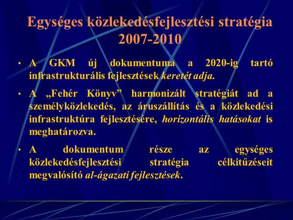 """Egységes közlekedésfejlesztési stratégia 2007-2010 A GKM új dokumentuma a 2020-ig tartó infrastrukturális fejlesztések keretét adja. A """"Fehér Könyv"""" h"""