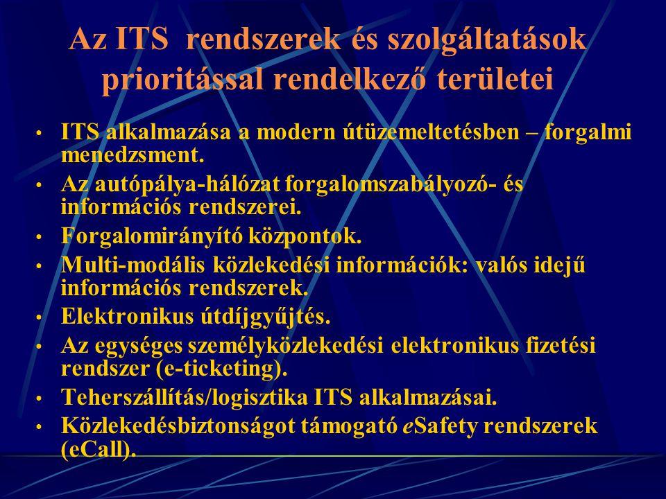 Az ITS rendszerek és szolgáltatások prioritással rendelkező területei ITS alkalmazása a modern útüzemeltetésben – forgalmi menedzsment. Az autópálya-h