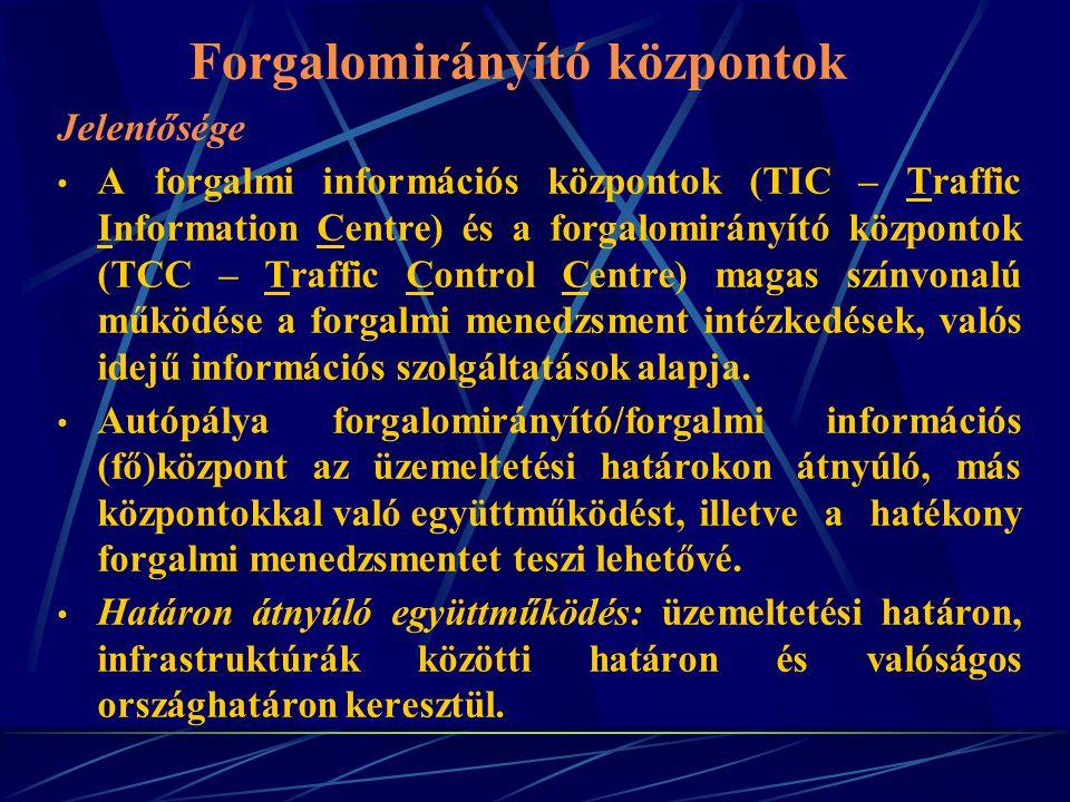 Forgalomirányító központok Jelentősége A forgalmi információs központok (TIC – Traffic Information Centre) és a forgalomirányító központok (TCC – Traf
