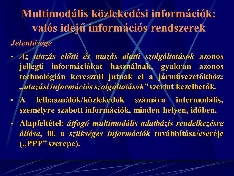 Multimodális közlekedési információk: valós idejű információs rendszerek Jelentősége Az utazás előtti és utazás alatti szolgáltatások azonos jellegű i