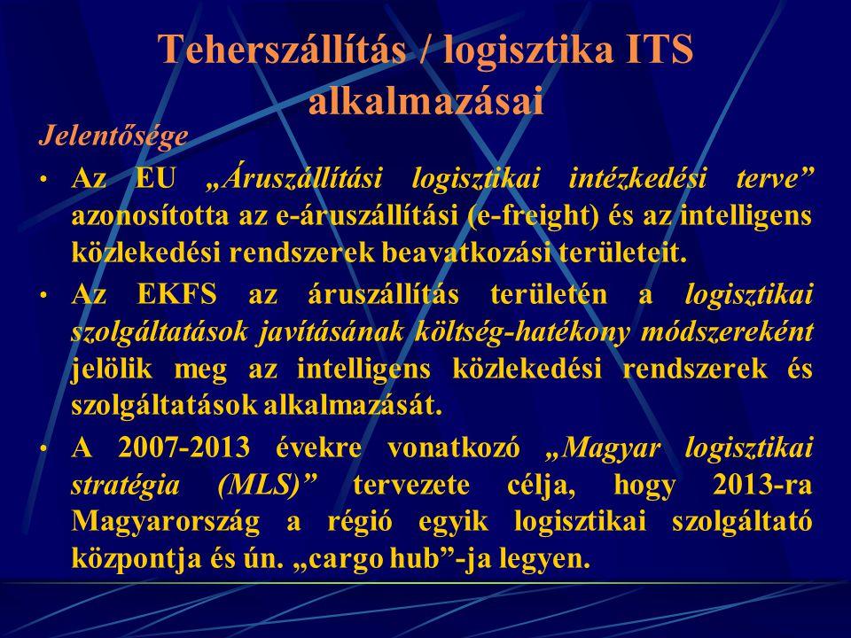"""Teherszállítás / logisztika ITS alkalmazásai Jelentősége Az EU """"Áruszállítási logisztikai intézkedési terve"""" azonosította az e-áruszállítási (e-freigh"""