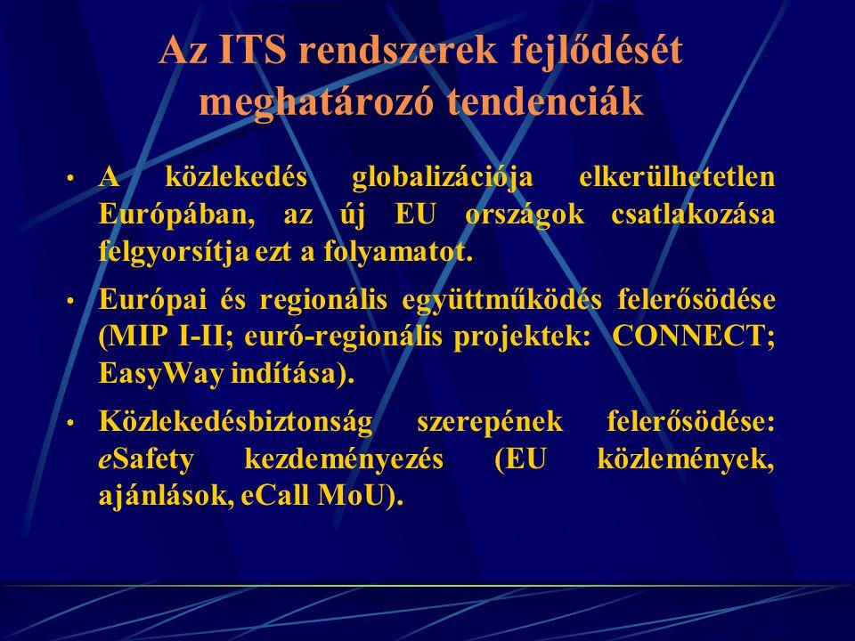 Az ITS rendszerek fejlődését meghatározó tendenciák A közlekedés globalizációja elkerülhetetlen Európában, az új EU országok csatlakozása felgyorsítja