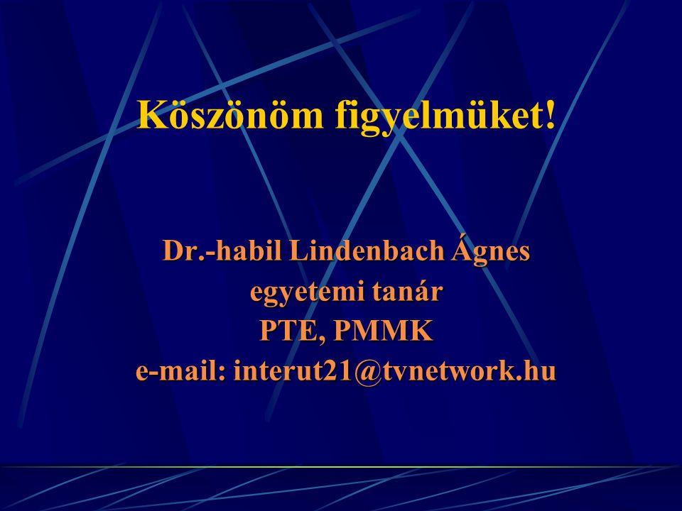 Köszönöm figyelmüket! Dr.-habil Lindenbach Ágnes egyetemi tanár PTE, PMMK e-mail: interut21@tvnetwork.hu