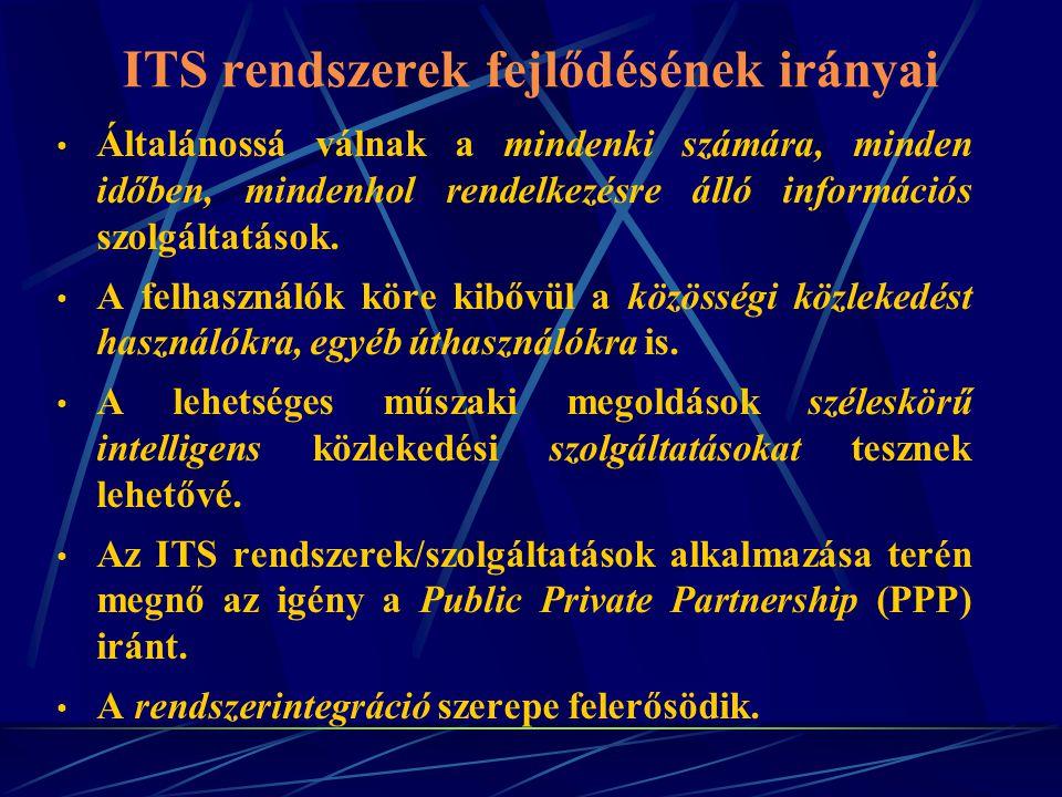 ITS rendszerek fejlődésének irányai Általánossá válnak a mindenki számára, minden időben, mindenhol rendelkezésre álló információs szolgáltatások. A f